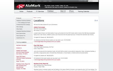 Screenshot of Locations Page alamark.com - Alamark Technologies - Locations | Training Facts Catalog Software, Web Catalogs, E-Commerce Catalogs, Print Catalogs, Filemaker PHP Development - captured Oct. 4, 2014