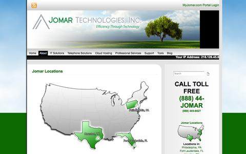 Screenshot of Locations Page jomartechnologies.com - Jomar Locations in Philadelphia, Ft. Lauderdale & Houston | Jomar Technologies, Inc. - captured Oct. 6, 2014