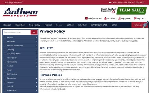 Screenshot of Privacy Page anthem-sports.com - Privacy Policy - captured April 16, 2017