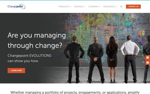 Screenshot of Home Page changepoint.com - Changepoint | PPM, PSA, & EA work management solutions - captured Sept. 28, 2018