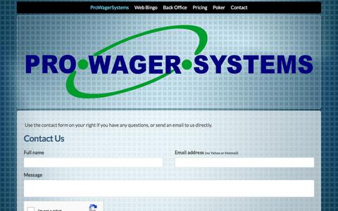 Screenshot of Contact Page prowagersystems.com - Software contact Page - captured July 22, 2018