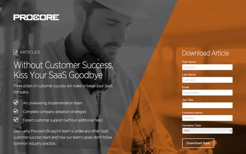 Screenshot of Landing Page procore.com - Without Customer Success, Kiss Your SaaS Goodbye - captured March 15, 2016