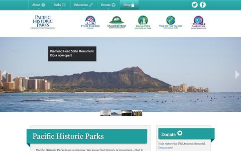 Screenshot of Home Page pacifichistoricparks.org - Pacific Historic Parks - captured Sept. 12, 2015