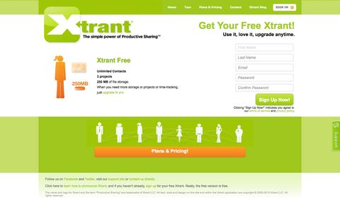 Screenshot of Signup Page xtrant.com - Xtrant • Sign Up • Keep everyone on the same page. - captured Oct. 9, 2014