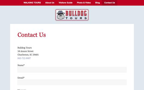 Screenshot of Contact Page bulldogtours.com - Contact Us in Charleston, SC for Guided Walking Tours | Bulldog Tours - captured Oct. 7, 2018