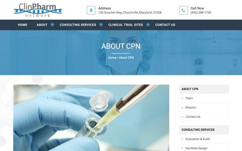 Screenshot of About Page clinpharmnetwork.com - About CPN - Clinpharmnetwork.com - captured July 19, 2018