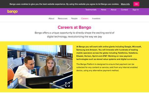 Screenshot of Jobs Page bango.com - Careers at Bango   Bango - captured May 23, 2018