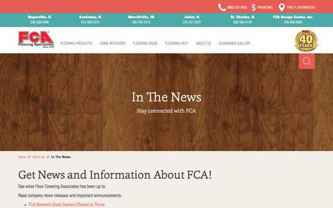 Screenshot of Press Page fcainc.com - In The News - Floor Covering Associates - captured Oct. 14, 2017