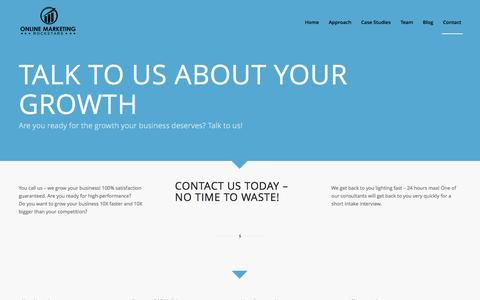 Screenshot of Contact Page onlinemarketingrockstars.com - Contact us today about growth hacking and we respond quickly - captured Feb. 27, 2016