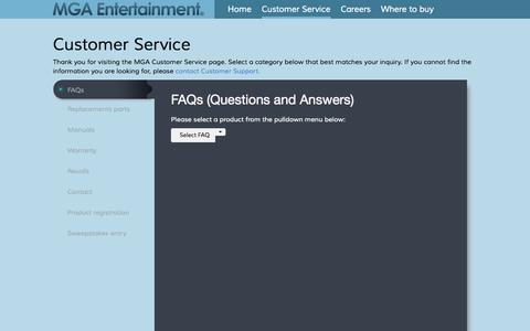Screenshot of Support Page mgae.com - MGA Entertainment | Customer Service - captured Sept. 19, 2014