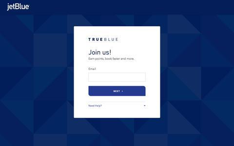 Screenshot of Signup Page jetblue.com - Join Us | TrueBlue | JetBlue - captured Feb. 7, 2020