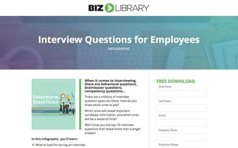 Screenshot of Landing Page bizlibrary.com - Top 10 Interview Questions for Employees [Infographic] - captured April 20, 2017