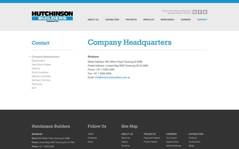 Screenshot of Contact Page Locations Page hutchinsonbuilders.com.au - Company Headquarters - Hutchinson Builders - captured Oct. 23, 2014