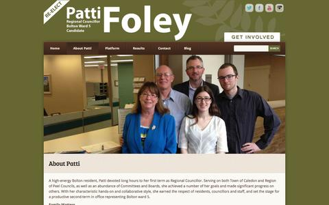 Screenshot of About Page pattifoley.net - About Patti - Patti Foley - captured Oct. 6, 2014