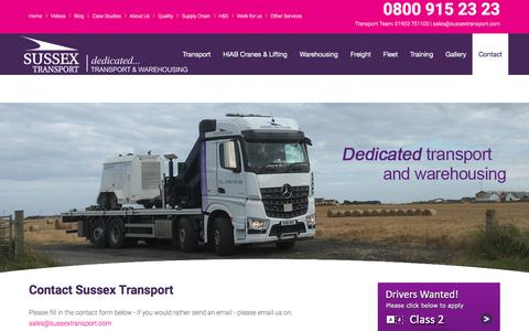 Screenshot of Contact Page sussextransport.com - Contact - captured Sept. 21, 2018