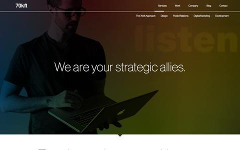 Screenshot of Services Page 70kft.com - Design, Digital Marketing & Public Relations | 70kft Services | 70kft - captured Oct. 27, 2014
