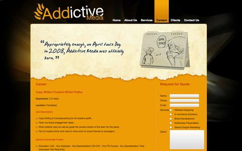 Screenshot of Jobs Page addictivemedia.co.in - Jobs and Career Opportunities at AddictiveMedia - captured Nov. 3, 2014