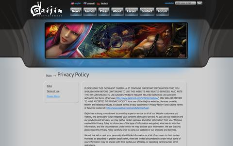 Screenshot of Privacy Page gaijinent.com - Gaijin Entertainment Gaijin Entertainment — Privacy Policy - captured Sept. 22, 2014