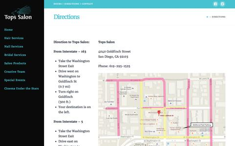 Screenshot of Maps & Directions Page topssalon.com - Directions | Tops Salon - captured Feb. 23, 2016
