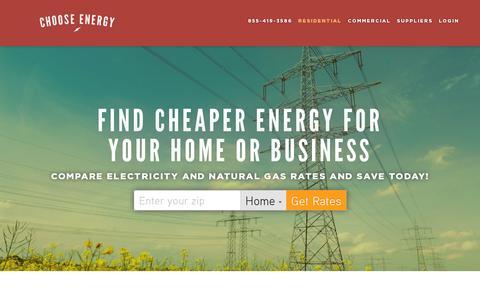 Screenshot of Home Page chooseenergy.com - Choose Energy - Compare Energy Rates and Save! | Choose Energy - captured July 11, 2014