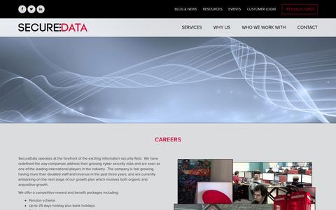 Screenshot of Jobs Page secdata.com - Careers | SecureData - captured Dec. 9, 2015