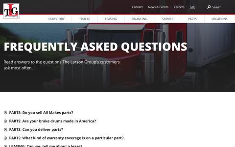 Screenshot of FAQ Page tlgtrucks.com - FAQ   TLG - captured Nov. 13, 2016