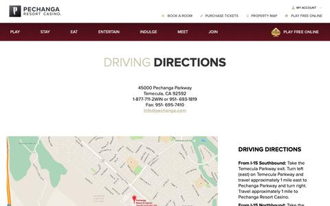Screenshot of Maps & Directions Page pechanga.com - Driving Directions   Pechanga Resort & Casino - captured Jan. 15, 2019
