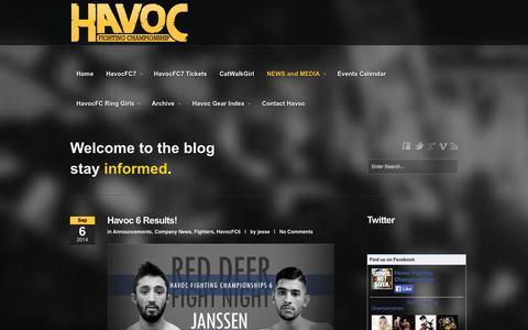 Screenshot of Blog havocfc.com - NEWS and MEDIA | Havoc FC - captured Oct. 2, 2014