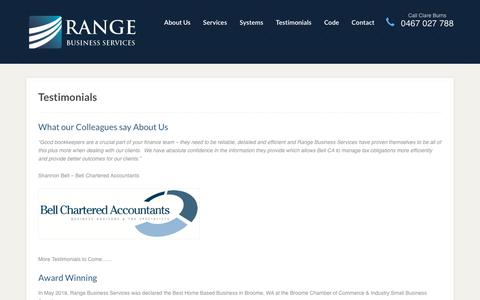 Screenshot of Testimonials Page rangeservices.com.au - Range Business Services Testimonials - captured Oct. 18, 2018