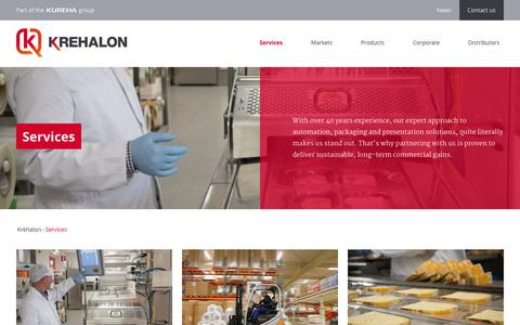 Screenshot of Services Page krehalon.com - Food Packaging Supporting Services - captured Nov. 27, 2016