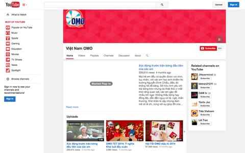 Screenshot of YouTube Page youtube.com - Việt Nam OMO  - YouTube - captured Nov. 4, 2014