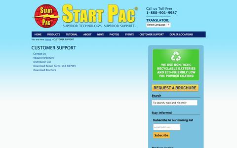 Screenshot of Support Page startpac.com - CUSTOMER SUPPORT | Start Pac - captured Sept. 30, 2014