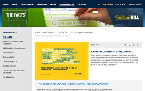Screenshot of williamhillplc.com - William Hill PLC: About skills diversity at William Hill...                 - Lets talk about gambling                 - The Facts                 - Responsibility - captured March 19, 2016
