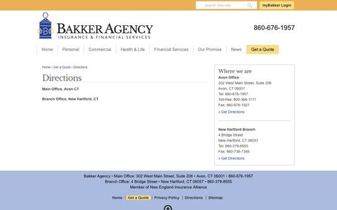 Screenshot of Maps & Directions Page bakkerinsurance.com - Get Your Pinpoint Directions To Our Bakker Agency Offices - captured July 28, 2017