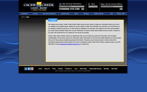 Screenshot of Terms Page cachecreek.com - Cache Creek - Legal - captured Sept. 19, 2014