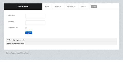 Screenshot of Login Page lucidnetworks.net - Login - captured Oct. 3, 2014