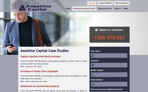 Screenshot of Case Studies Page assetline.com.au - Case Studies | Assetline Capital - captured Nov. 4, 2014