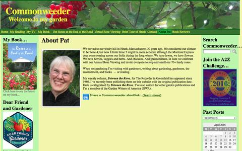 Screenshot of About Page commonweeder.com - About Pat - Commonweeder - captured April 15, 2016