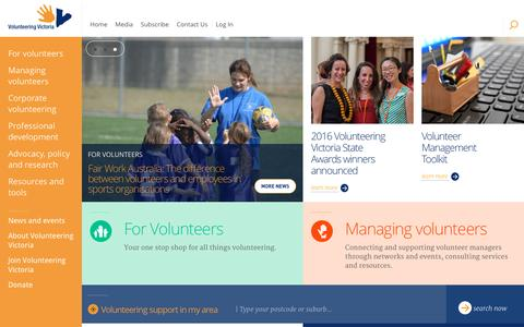 Screenshot of Home Page volunteeringvictoria.org.au - Home - Volunteering Victoria - captured Dec. 11, 2016