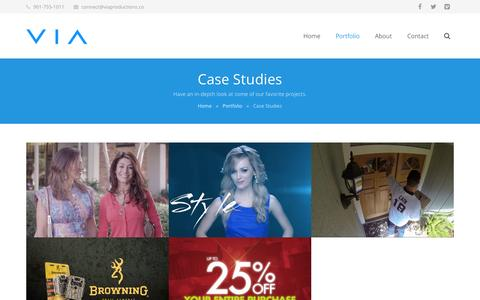 Screenshot of Case Studies Page viaproductions.co - VIA Productions  –  Case Studies - captured Sept. 30, 2014