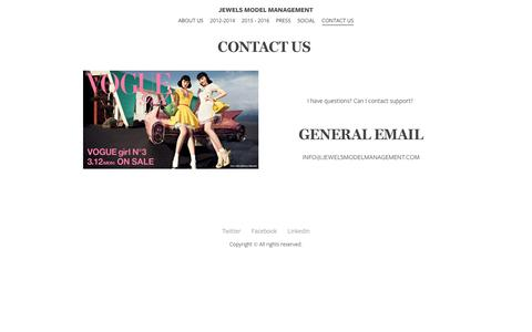 Screenshot of Contact Page jewelsmodelmanagement.com - CONTACT US  - Jewels Model Management - captured Sept. 20, 2018