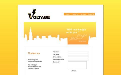 Screenshot of Contact Page pure-voltage.com - Pure-Voltage Electricians - Contact Us - captured Nov. 15, 2016