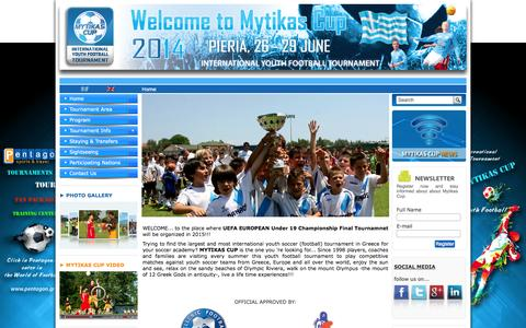 Screenshot of Home Page mytikascup.com - International Youth Soccer Tournament | Mytikas Cup - captured Oct. 8, 2014