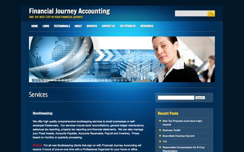 Screenshot of Services Page financialjourney.net - Financial Journey Accounting  Services | Financial Journey Accounting - captured Oct. 5, 2014