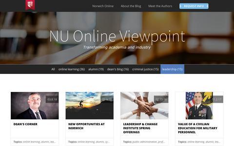 Screenshot of Team Page norwich.edu - NU Online Viewpoint | Norwich University | leadership - captured April 21, 2018