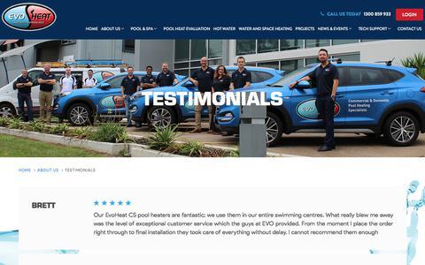 Screenshot of Testimonials Page evoheat.com.au - Testimonials - EvoHeat - captured Sept. 6, 2018