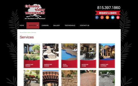 Screenshot of Services Page crimsonvalleylandscaping.com - Crimson Valley Landscaping - Services - captured Dec. 13, 2015