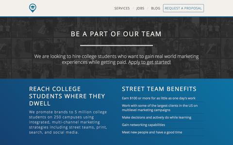 Screenshot of Jobs Page biggermarkets.com - Bigger Markets | College Marketing | On-Campus Marketing | Campus Street Teams | Marketing to Generation Y - captured Nov. 3, 2014