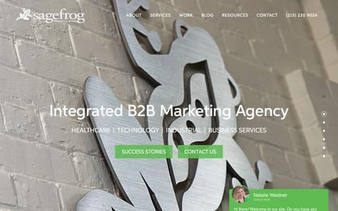 Screenshot of Home Page sagefrog.com - B2B Marketing Agency   Sagefrog Marketing Group - Philadelphia, PA - captured July 17, 2019
