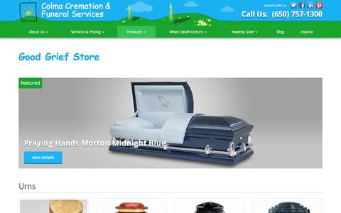 Screenshot of Products Page colmacremation.com - Good Grief Store | Colma Cremation & Funeral Services - captured Jan. 29, 2016